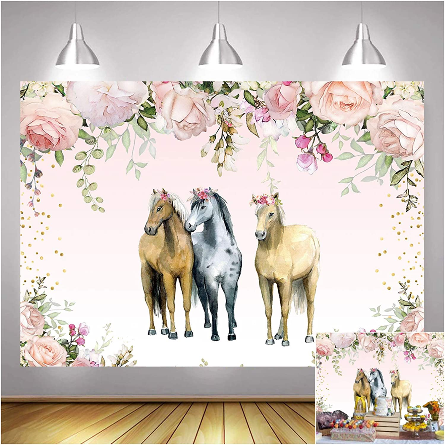 Pink Flower Countryside West Cowboy Cowgirl Horse Theme Photography Backdrop 5x3ft Children Boy or Princess Girl Birthday Photo Background Baby Shower Party Supplies Banner Cake Table Decor Vinyl