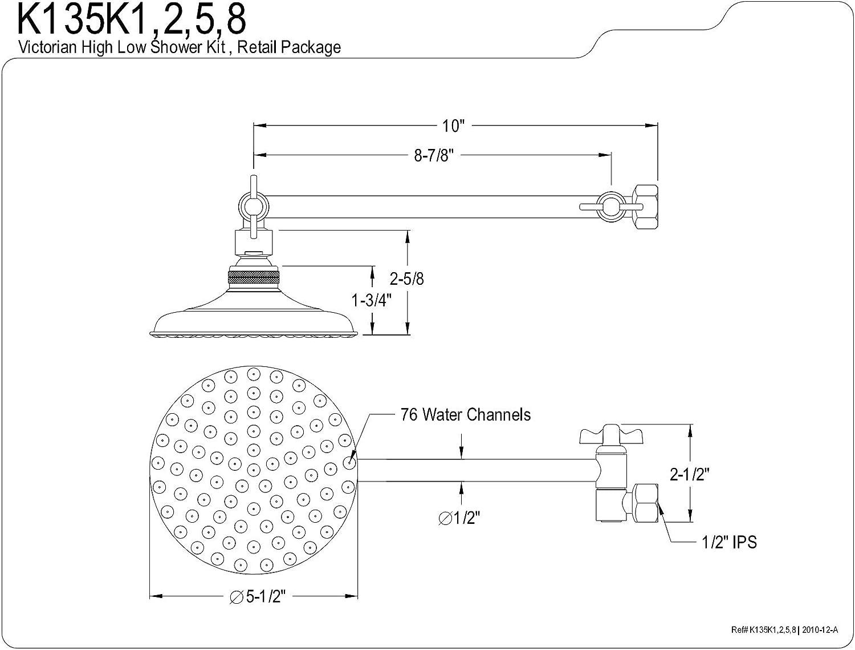 Final pulido del cromo Kingston Brass K135K1 Gran cabeza de ducha y 10 pulgadas de alto-bajo Kit de ducha