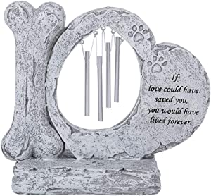 HMGYGS Pet Memorial Gifts, Pet Memorial Stones with Wind Chime, Memorial for Dog or Cat