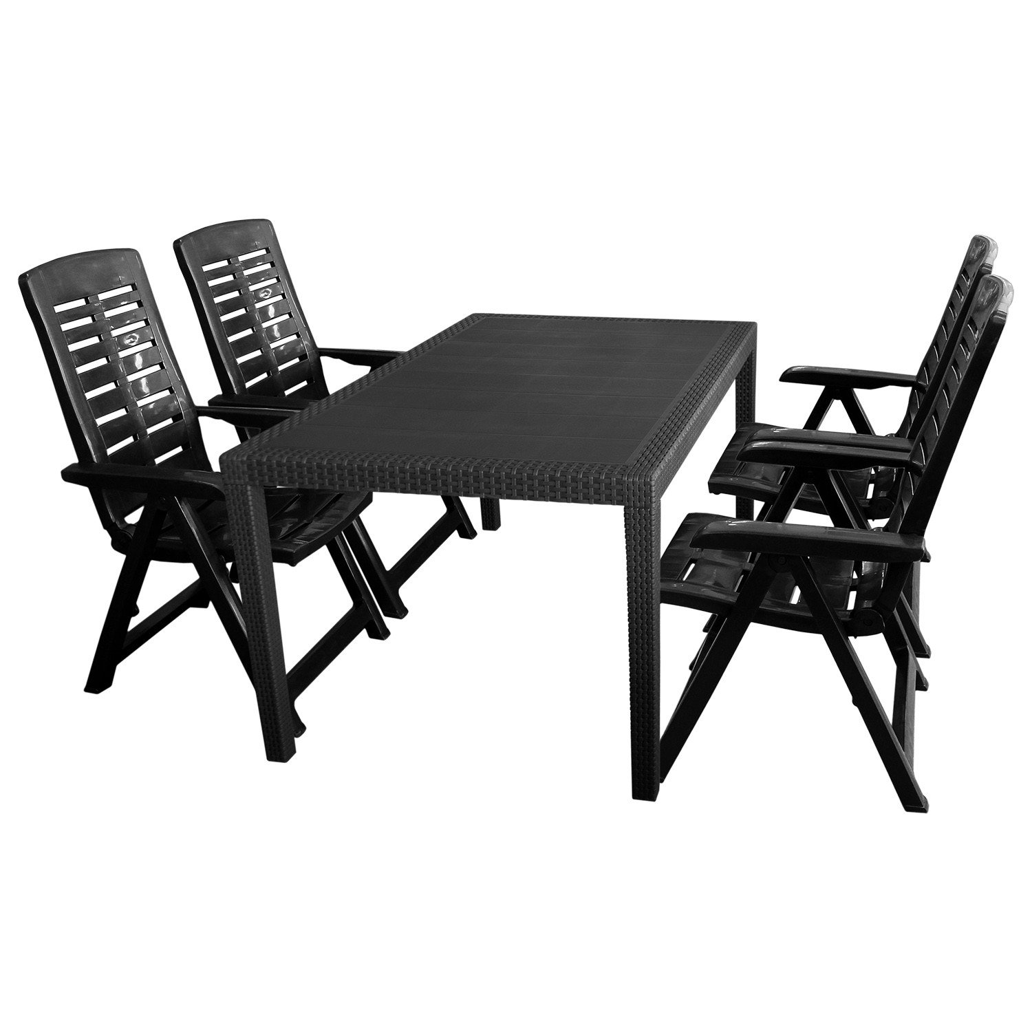 5tlg sitzgruppe gartengarnitur terrassenm bel gartenm bel campingm bel set gartentisch. Black Bedroom Furniture Sets. Home Design Ideas