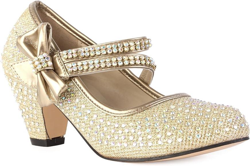 90O Girls Gold Diamante Strappy Kids