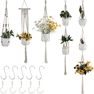 5 Packs Macrame Plant Hangers with 5 Hooks, Different Tiers, Bohemian Handmade Cotton Rope Woven Hanging Planters Set Flower Pots Holder Stand, for Indoor Outdoor Boho Home Decor