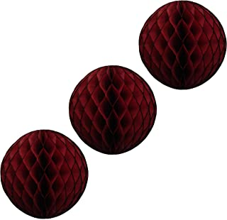 product image for 3-pack 5 Inch Honeycomb Tissue Paper Balls (Maroon)