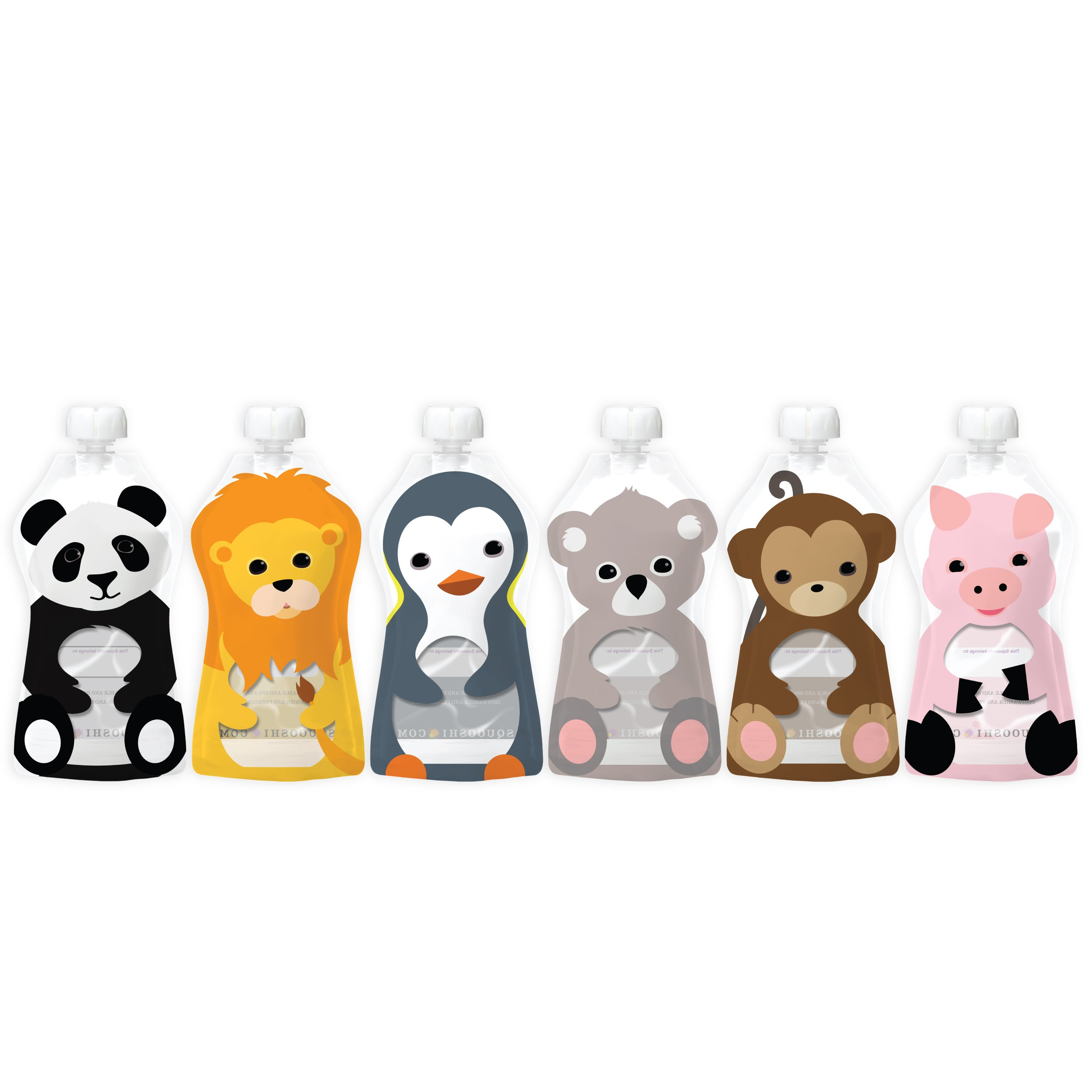 Squooshi Reusable Food Pouch | Animal 6 Pack | 6 Large Pouches
