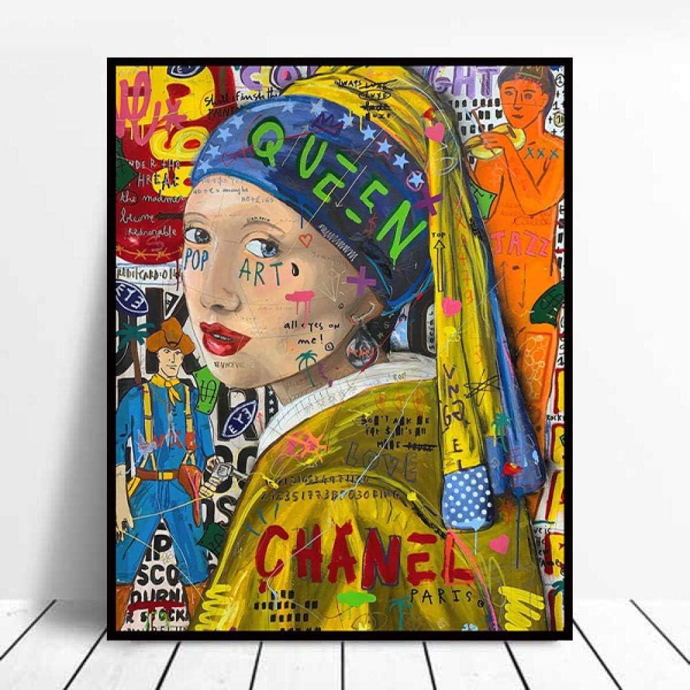 DIY 5D pintura de diamante Graffiti arte de pared chica con pendientes de perlas pintura famosa decoración de la habitación del hogar kit de pintura de diamante regalo 70x90cm
