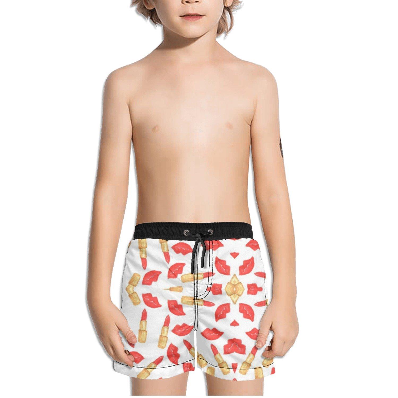 Ouxioaz Boys Swim Trunk Red Lipstick Lips Beach Board Shorts