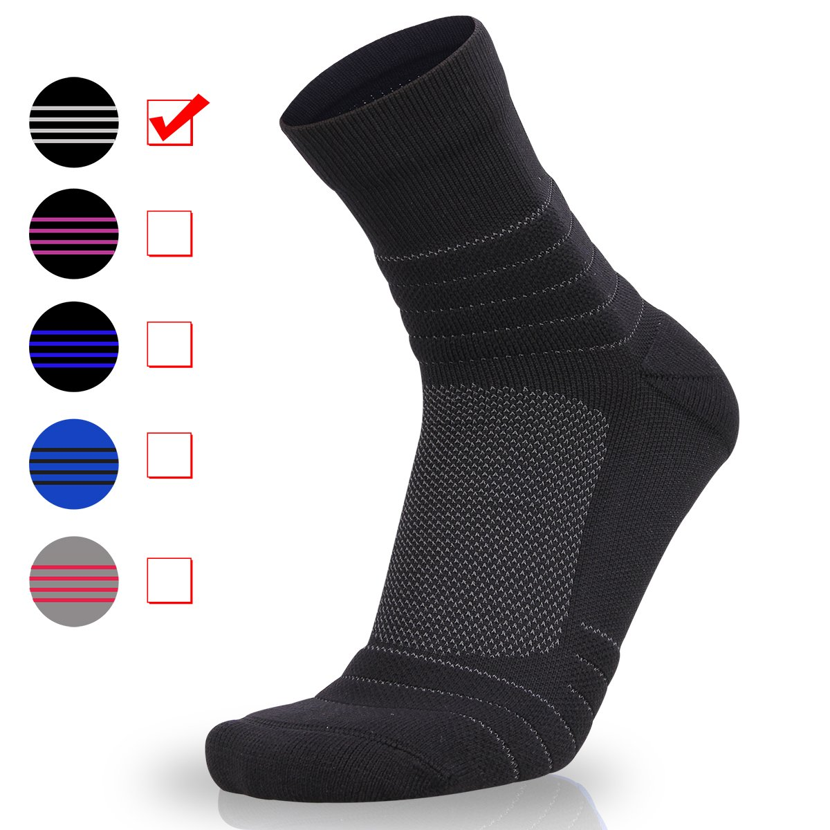 Zisuper Men's Athletic Running Performance Compression Crew Socks Sport Wicking Cushion Workout Basketball Cycling High Ankle Socks for Men