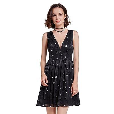 Alisapan Robe de Soirée Sans Manches à Imprimé étoiles Pour Femme AS05741