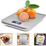 Báscula Digital para Cocina, ikalula Balanza de Cocina Digital de Acero Inoxidable 5 kg Máximo Peso Balanza de Alimentos Multifuncional (Alta Precisión a Hasta 1G) Función de Tara y Gran Pantalla LCD,
