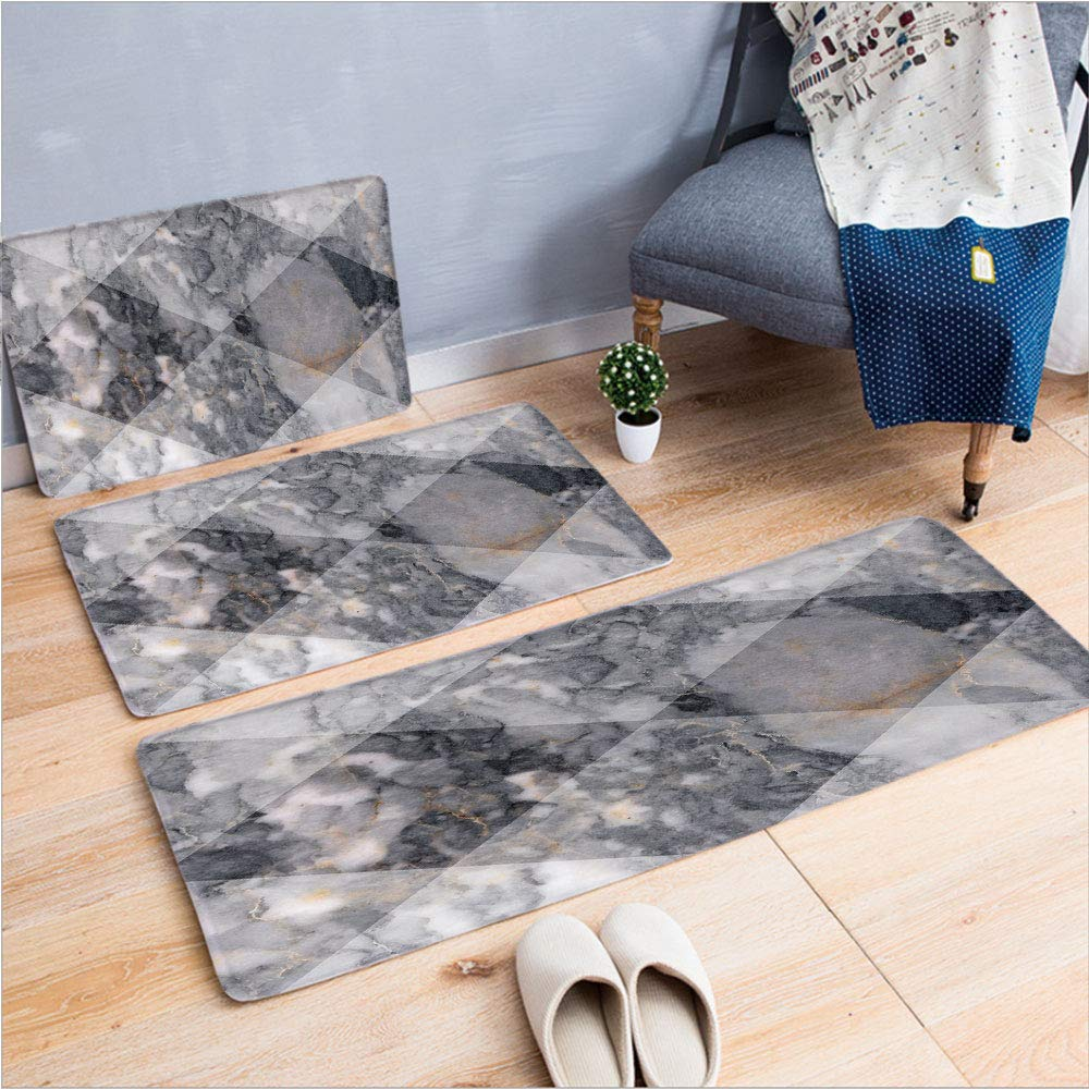 """3 Piece Non-Slip Doormat 3d print for Door mat living room kitchen absorbent kitchen mat,Grunge Granite Rock Facet Forms Ceramic Abstrac,15.7""""x23.6""""by19.7""""x31.5""""by17.7""""x45.3"""",coffee table carpet windo"""