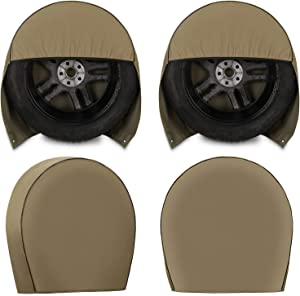 Kohree Tire Covers for RV Wheel Set of 4 Heavy Duty 600D Oxford Motorhome Wheel Covers, Waterproof PVC Coating Tire Protectors for Trailer Truck Camper Auto, Fits 29 inches-32 inches Tire Diameters