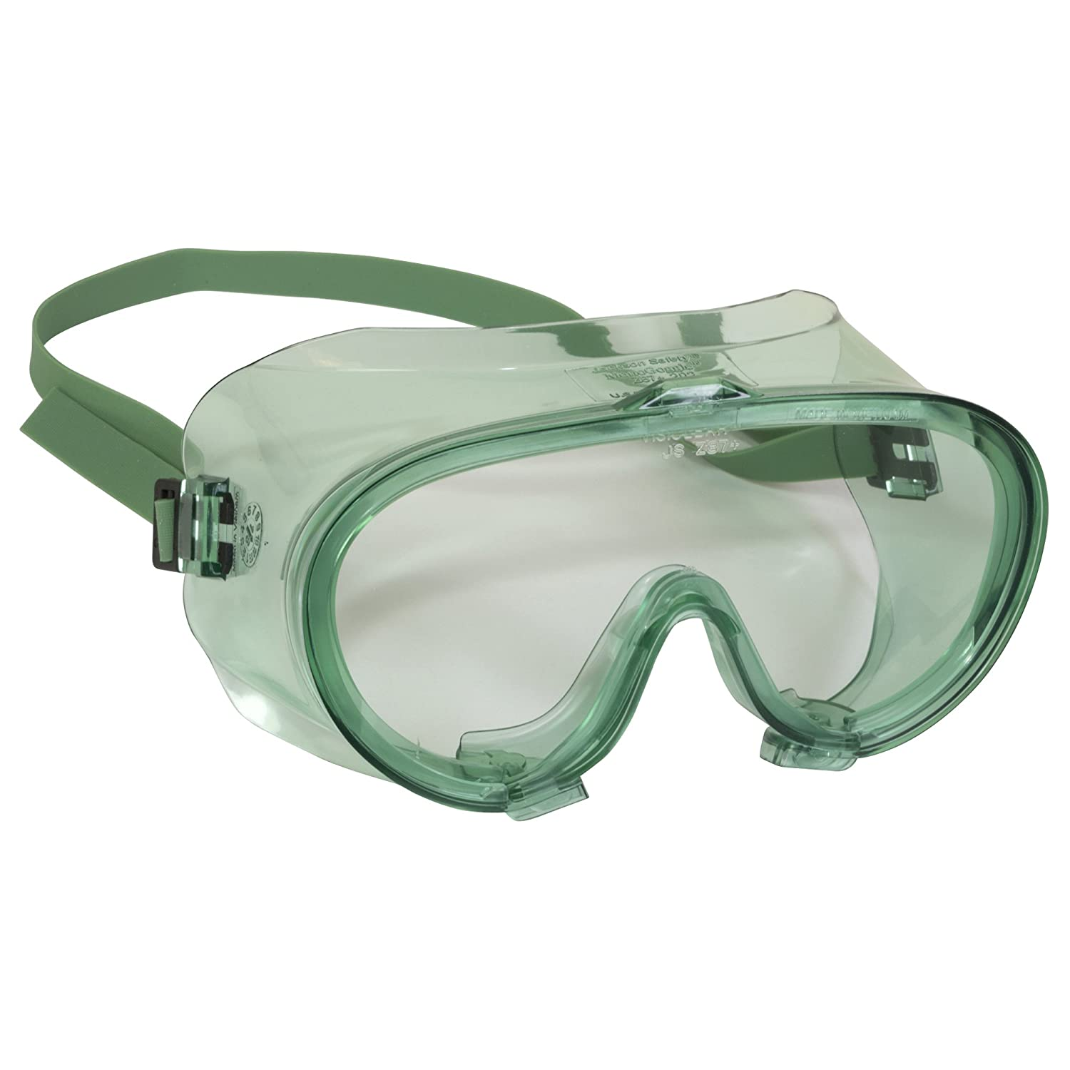 Clear Lens Green Frame Jackson Safety V70 Monogoggle 202 Safety Goggles 16666 6 Pairs // Case D4 // D5 Rating for Dust Protection