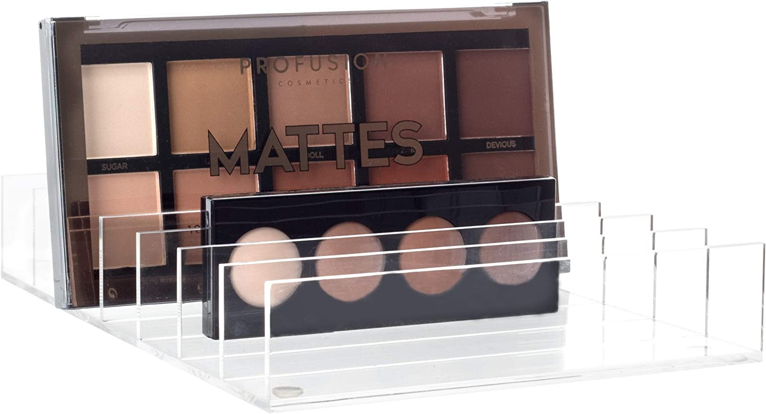 """Mantello Clear Acrylic 7-Section Divided Palette Holder Makeup Organizer 8"""" x 5.75"""" x 1.25"""""""