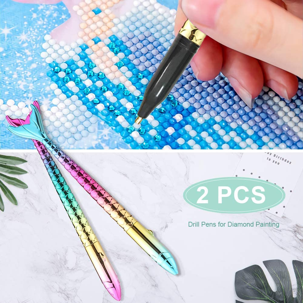 5D Diamond Painting Tools Point Drill Pens Applied to Square/Round Colorful Drills Mermaid Pen Diamond Accessories Kits Gift for Adults