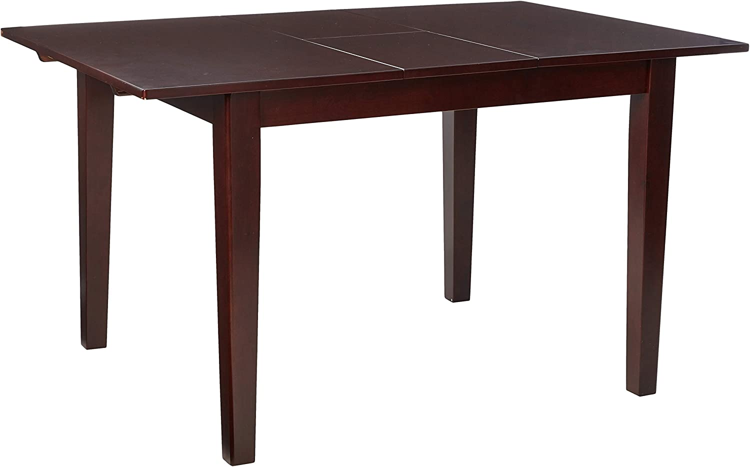 East West Furniture Butterfly Leaf Milan Dining Table Mahogany Finish Stylish 4 Legs Solid Wood Frame Kitchen Table