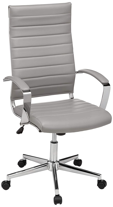 AmazonBasics High-Back Executive Swivel Chair with Ribbed Puresoft PU - Grey