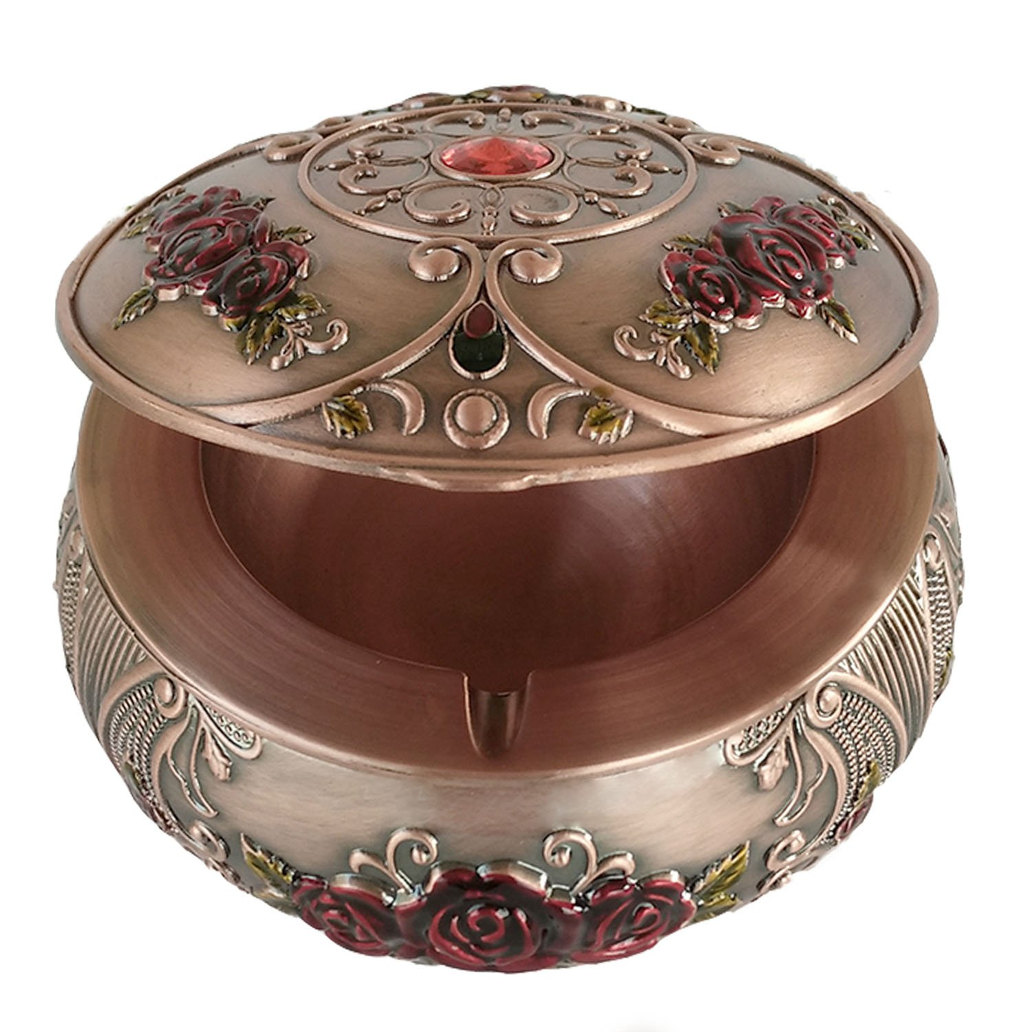Magicpro Vintage Ashtray with Lids,Metal Cigarettes Ashtray for Outdoor & Indoor Use,Red Bronze