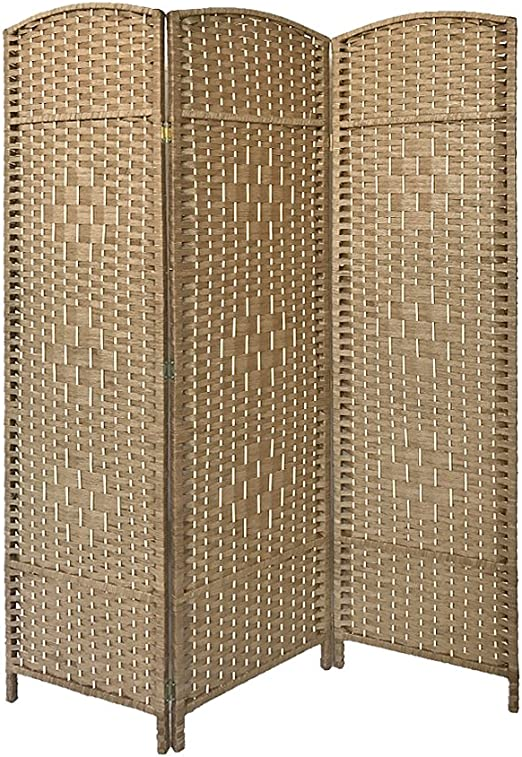 Dark Brown 6 Panel Solid Weave Wicker Room Divider Hand Made Privacy Screen
