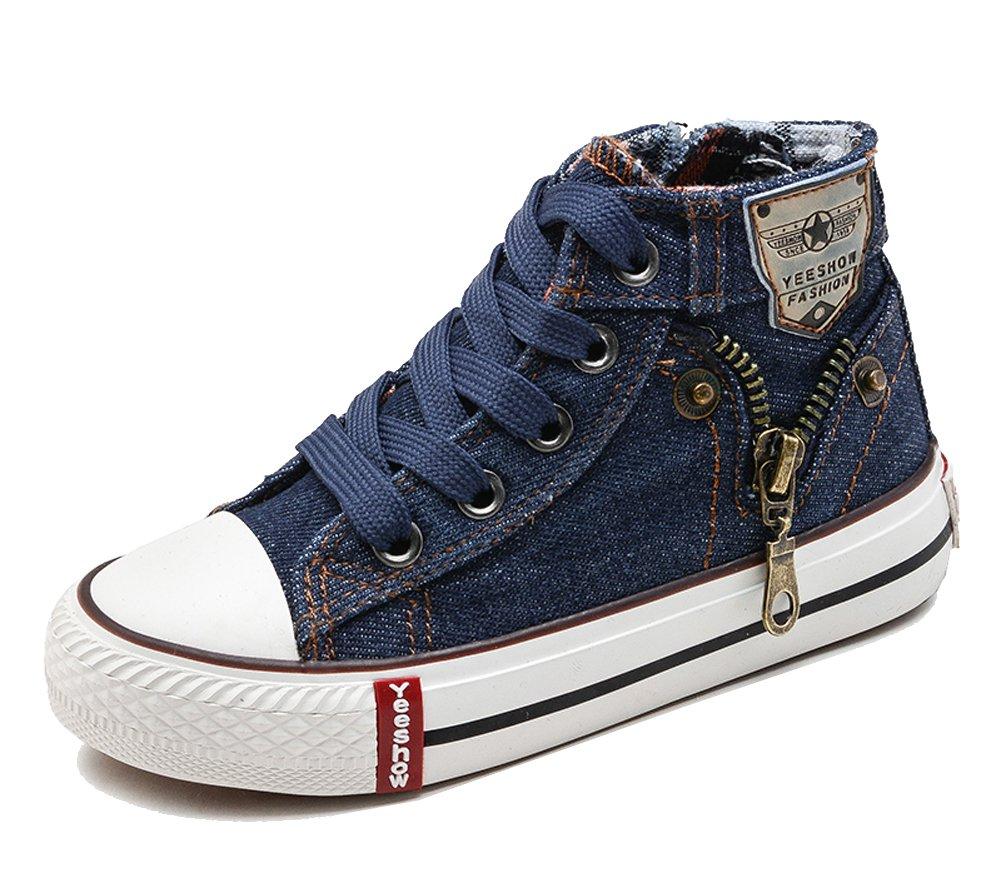 iDuoDuo Kids Classic Lace Up Board Shoes Fashion Rivet Denim Sneakers (3 M US Little Kid, Dark Blue 1)