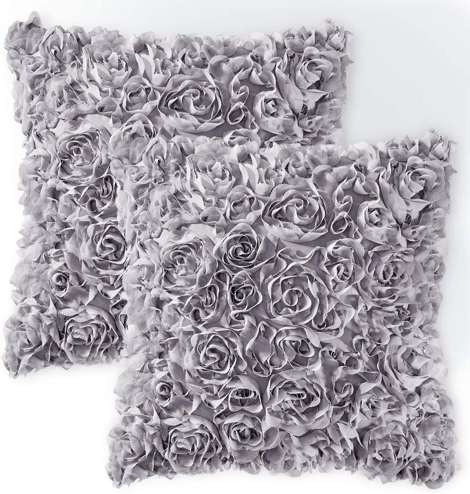 MIULEE Pack of 2 Decorative Romantic Stereo Chiffon Rose Flower Pillow Cover Solid Square Pillowcase for Sofa Bedroom Car 18x18 Inch 45x45 cm Grey