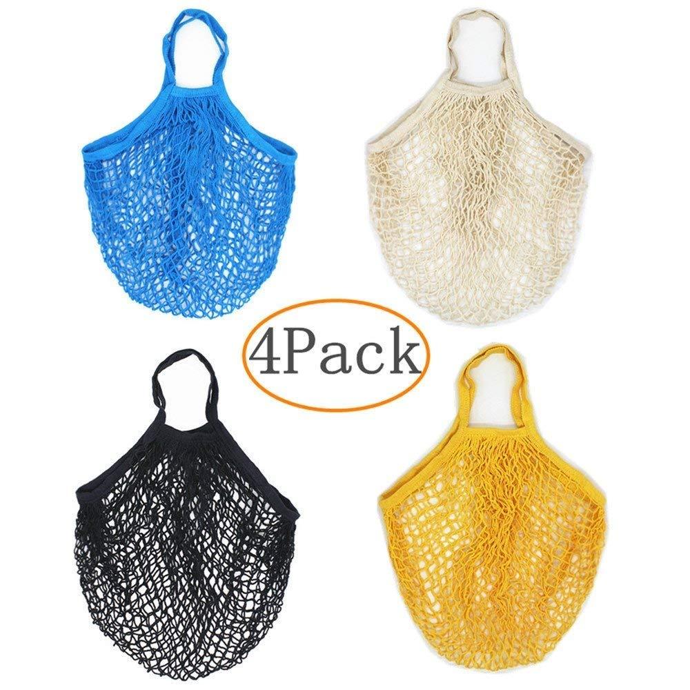 TANG SONG - 4 bolsas de malla de algodón reutilizables para ...