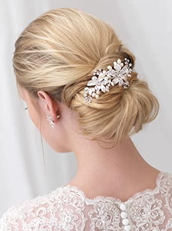 Amazon Com Side Bridal Comb Wedding Hairpiece With Flowers