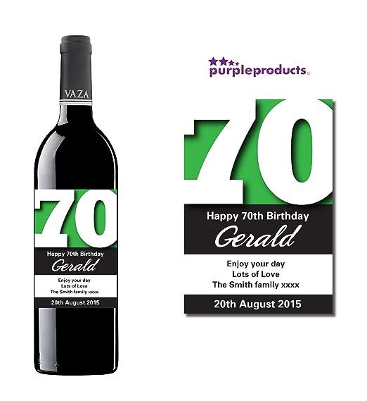 Verde Botella de vino 70 cumpleaños regalo de etiqueta ...