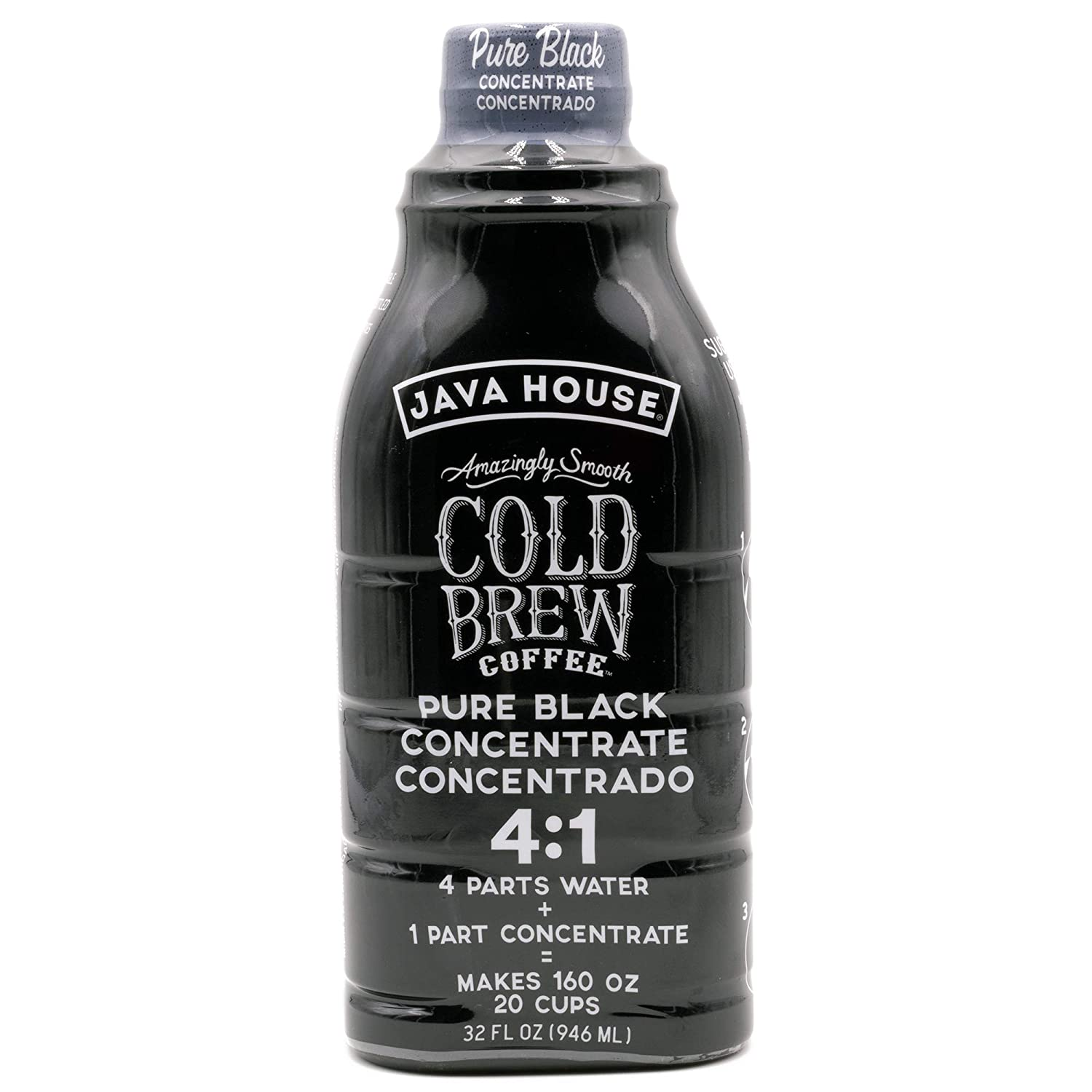 JAVA HOUSE Cold Brew Coffee, Colombian 4:1 Liquid Concentrate, 32 Ounce Bottle
