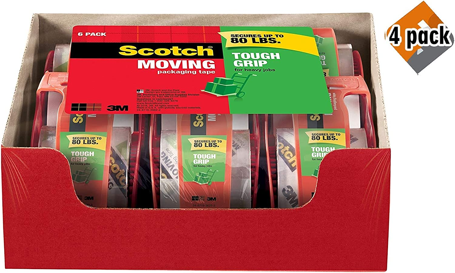 2 Rolls Scotch Tough Grip Moving Packaging Tape