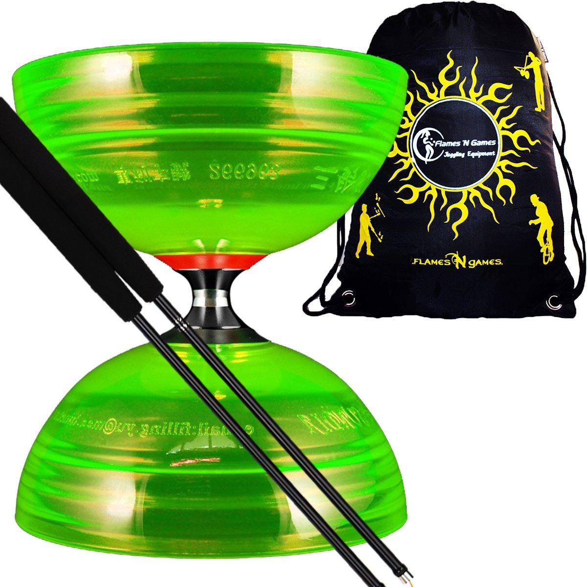 Sundia SHINING PRO Triple Bearing Diabolo Set (Green) + Henrys Fibre Diabolo Sticks, Diabolo String + Fabric Diablo Travel Bag.TOP OF THE RANGE Diabolo set!'