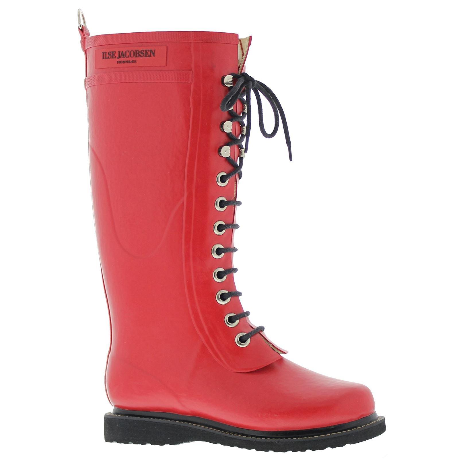 Ilse Jacobsen Hornbaek Rub1 Long Knee High Rubber Rain Boot Deep Red 39