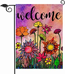 Hzppyz Welcome Spring Summer Watercolor Garden Flag Double Sided, Flowers Decorative House Yard Lawn Outdoor Small Burlap Flag Vintage Sunflower Decor Farmhouse Seasonal Outside Decorations 12 x 18