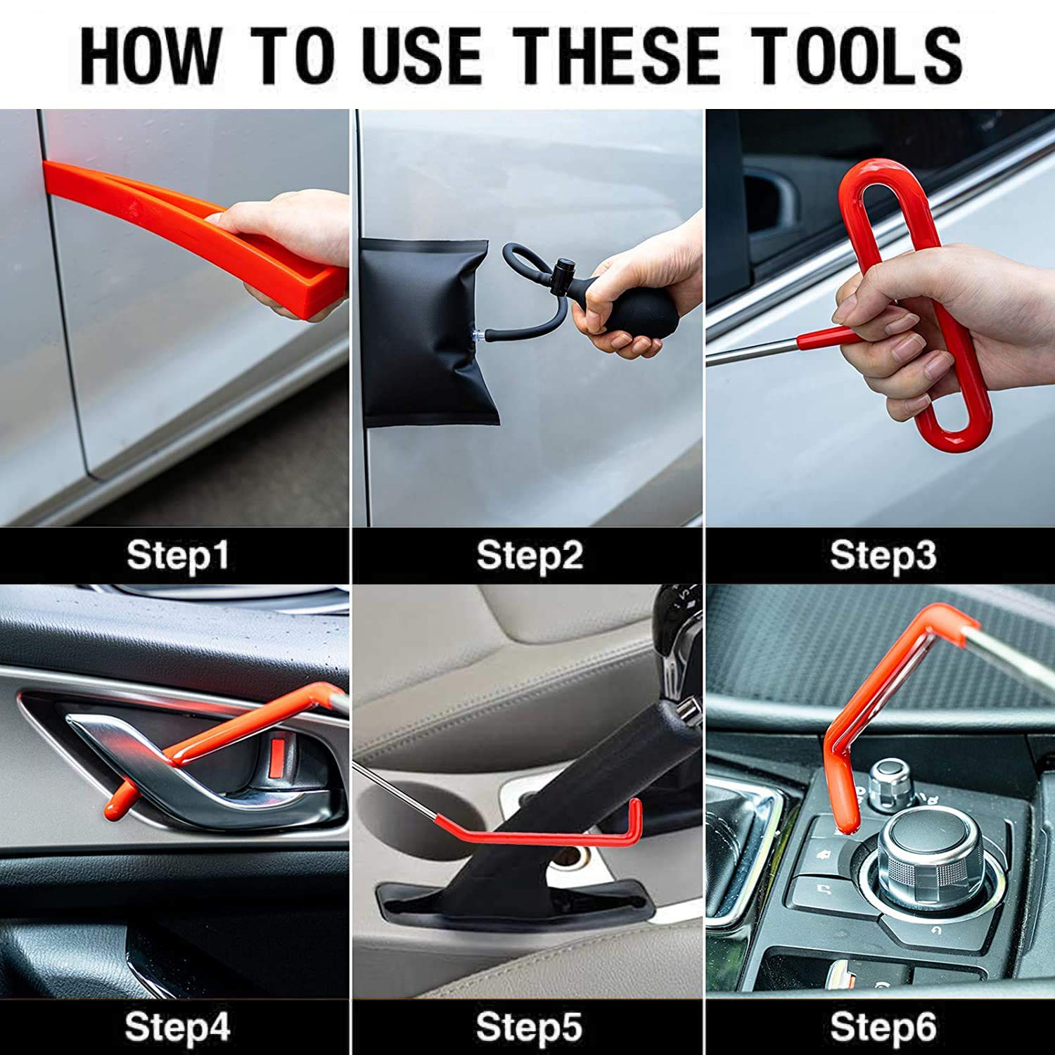 Long Reach Grabber Essential Tagout Tool Kit for Automotive Truck 13 pcs Professional Car Lockout Kit Air Wedge Pump Waterproof Carrying Case Emergency Vehicle Door Unlock Tools with LED Light