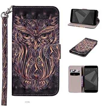 For Samsung Galaxy J3 2018 Case, Premium 3D Cartoon Leather Stand Wallet  Case Flip Cover for Samsung Galaxy J3 2018 [Owl]