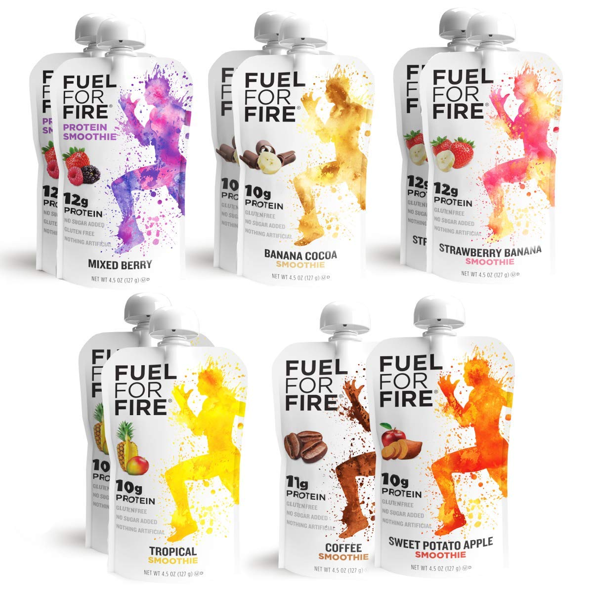 Fuel For Fire - Variety Pack with All 6 Flavors (10 Pack) Including New Mixed Berry! Fruit & Protein Smoothie Squeeze Pouch | Gluten Free, Soy Free, Kosher (4.5 ounce pouches)