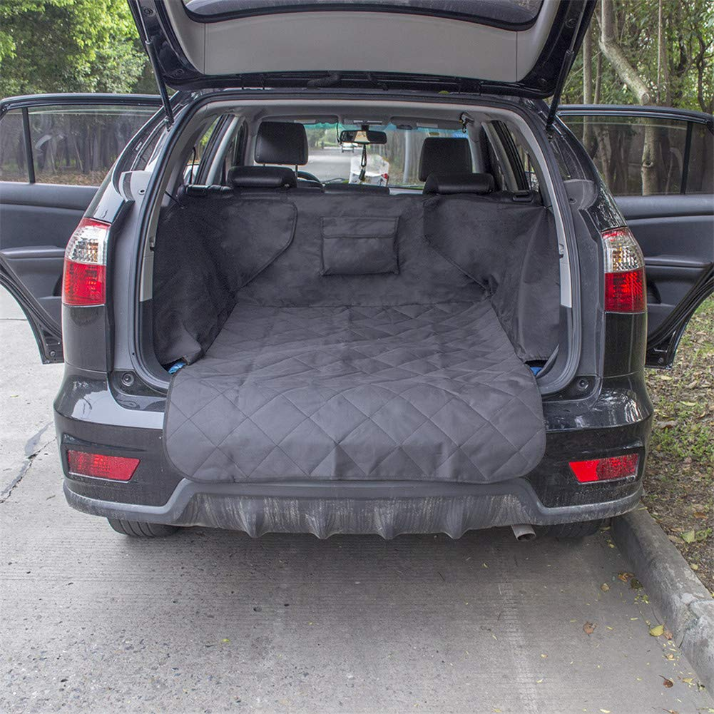 Black Waterproof Trunk Mat Dog Pets Cargo Liner Cover Non Slip Car Trunk Predector Back Seat Cover Pockets for SUV Pet Barrier