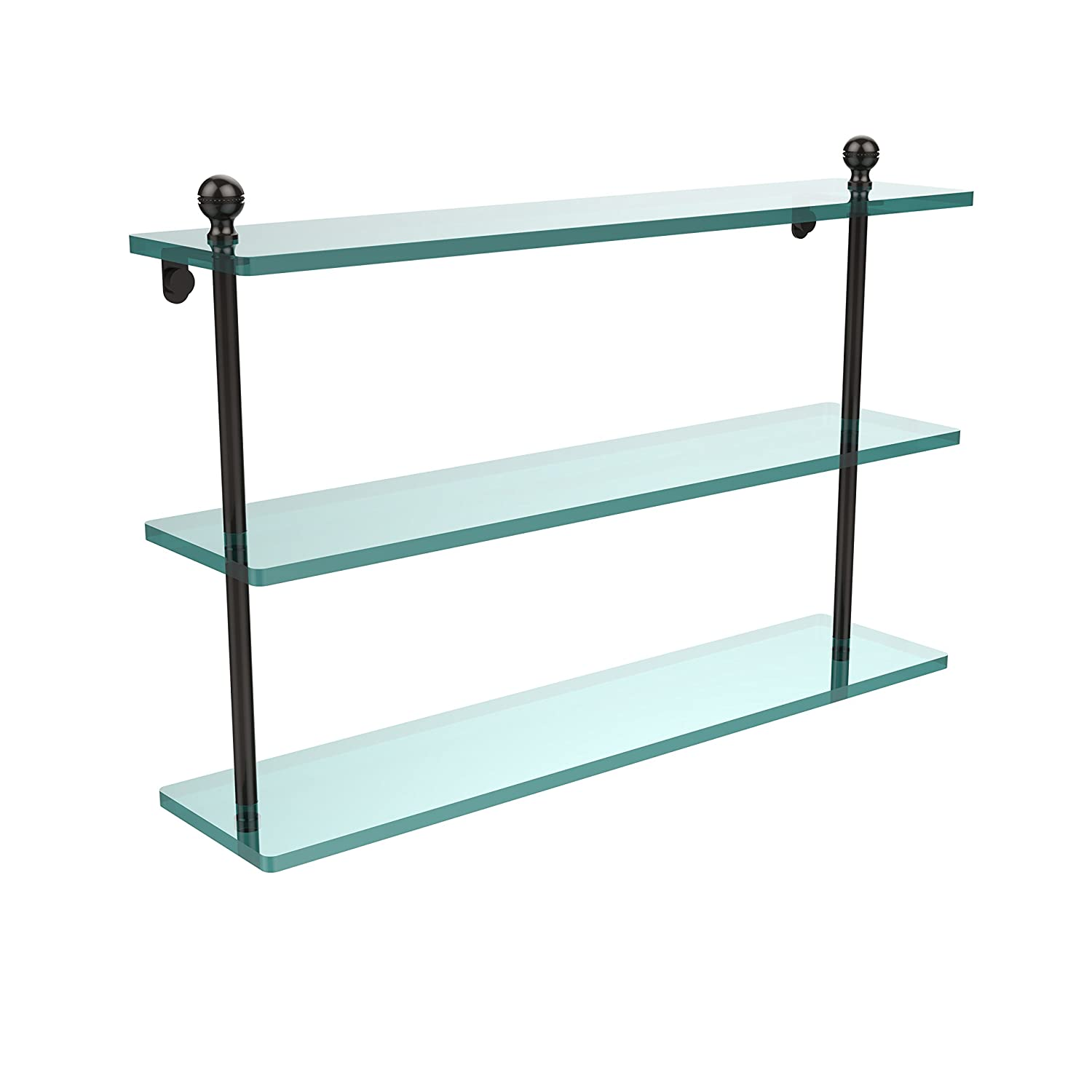 Allied Brass MA-5//22-BBR Mambo Collection 22 Inch Triple Tiered Glass Shelf Brushed Bronze