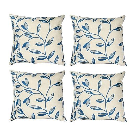 Topfinel hojas algodón lino fundas de cojín almohada cuadrado decorativa para sofás Juego de 4 45x45cm Rama
