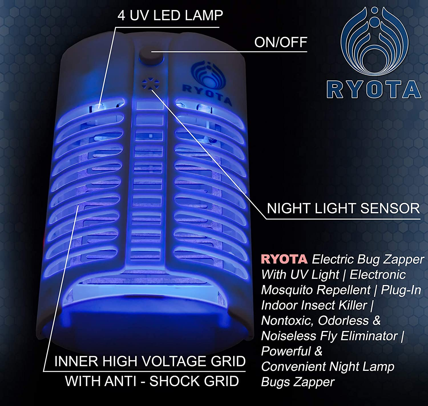 Ryota Electric Bug Zapper With Uv Light Electronic Mosquito Repeller Insect And Kit Repellent Plug In Indoor Killer Nontoxic Odorless Noiseless Fly