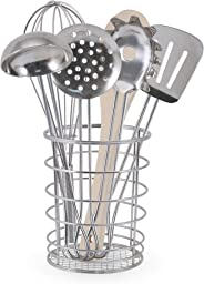 Melissa & Doug Let's Play House! Stir & Serve Cooking Utensils, The Original (7 Pieces, Stainless Steel, Wooden Construction,