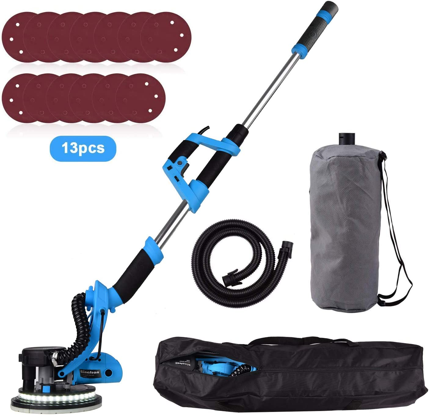 Drywall Sander, Ginelson 800W Drywall Vacuum Sander, Detachable Base, Vacuum Automatic Dust Absorption, 13 Sanding Discs, Variable Speed 500-1800RPM, Double-Layer LED, with Carry Bag