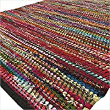 EYES OF INDIA - 3 X 5 ft BLACK COLORFUL CHINDI WOVEN RAG RUG Bohemian Boho Indian Decor
