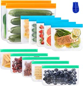 Reusable Storage Bags, SIHOHAN Refrigerator Food Storage Portable for Bread Fruits Vegetable Meat in Kitchen 12 Pack(2 Large&5 Medium&5 Small)