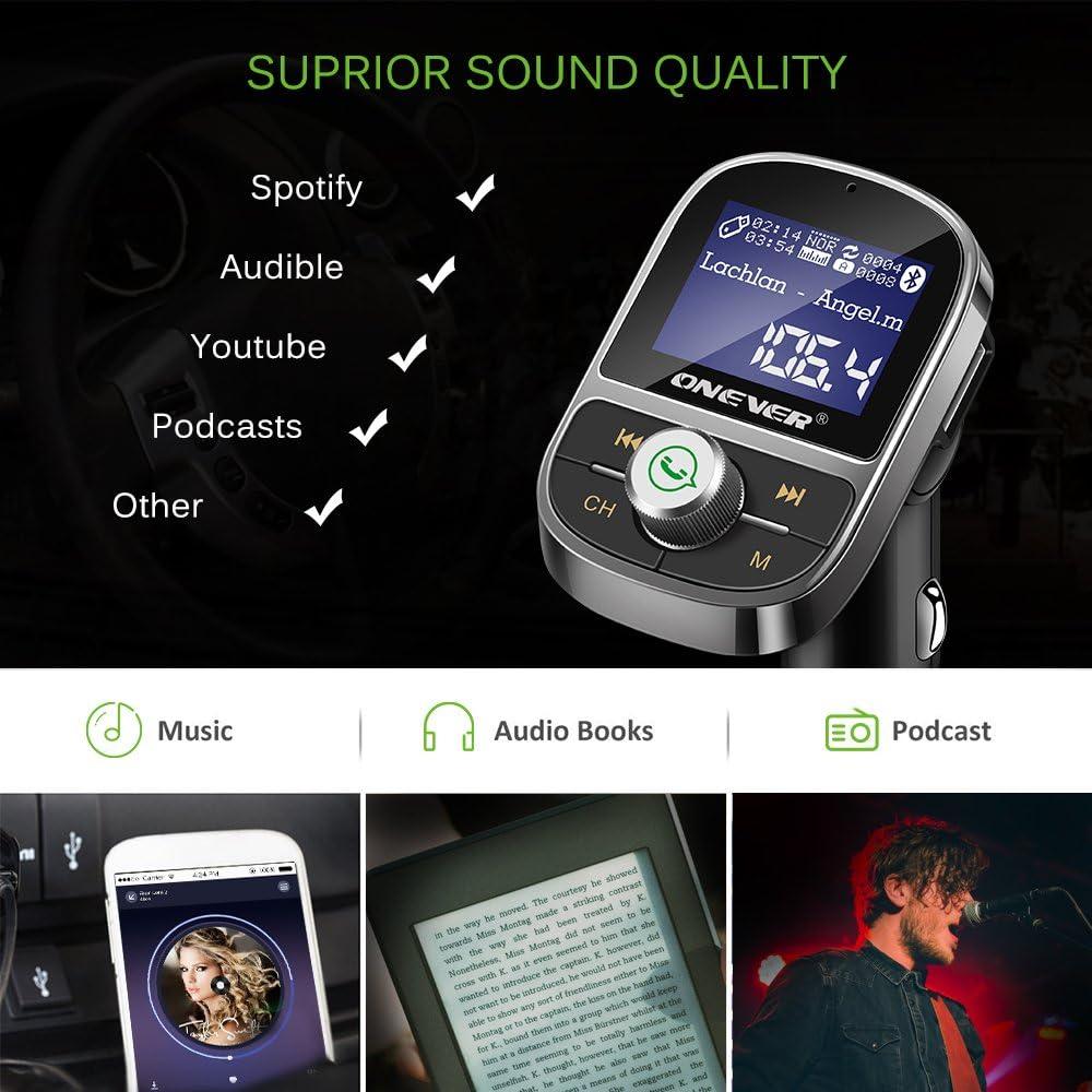 Transmetteur FM Voiture Lecteur MP3 Chargeur USB 3.1A Prise en Charge de l/égalisation Voltm/ètre Carte TF Carte U Sortie Disque AUX Transmetteur FM Bluetooth