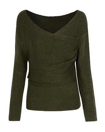 e58d77de8785 Joeoy Women s Army Green Long Sleeve Cross Wrap Sweater Jumper Pullover-S