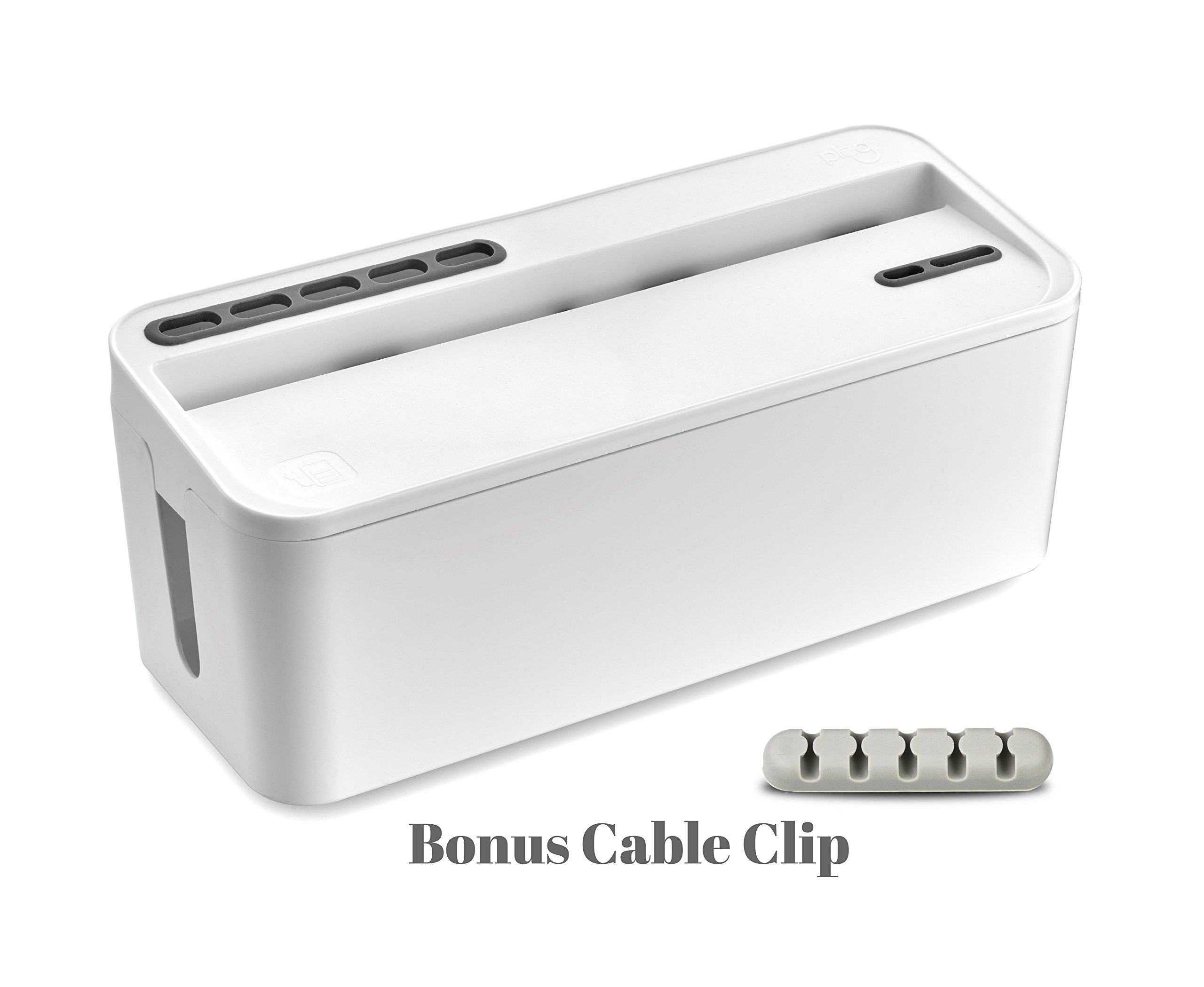 Bins & Things Cable Management Box and Power Strip Organizer | Large - White | Entertainment Center, USB, Computer, Charging Cords | Home and Office Organization | Compact, Discrete Safety
