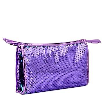 Amazon.com   Mermaid Sequin Cosmetic Bag Magic Makeup Pouch Fashion Color  Changing Makeup Bags DIY Reversible Sequins Handbag Glitter Pencil Case  (color2)   ... ae50f422bcc8