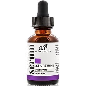 Art Naturals Sérum Rétinol Enrichi 2,5 % Contenant 20 % de Vitamine C et d'Acide Hyaluronique 30 ml - Soin Anti-Rides Idéal, Sérum Anti-Âge pour Visage et Peaux Sensibles - Ingrédients Biologiques Efficacité Clinique - Soin de Nuit