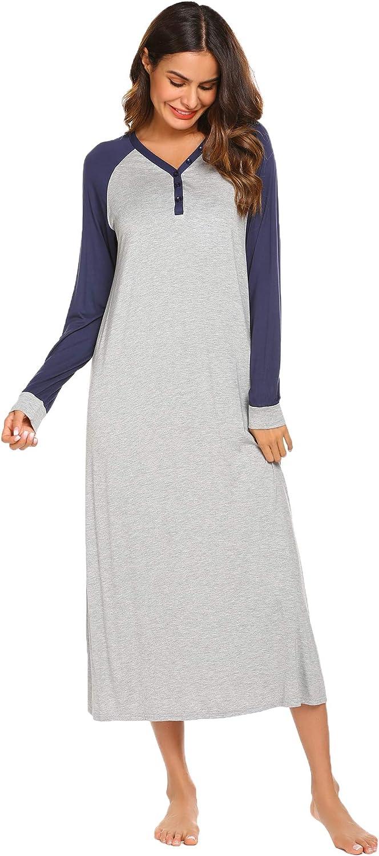 Ekouaer Sleep Shirt Womens Long Sleeve Sleepwear V-Neck Night Dress Nightgown Loungewear S-XXL