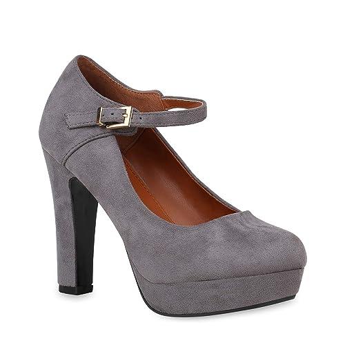 9ca78371beb2cd Damen Schuhe Plateau Pumps Mary Janes Wildleder-Optik Stiletto High Heels  153074 Grau 36 Flandell